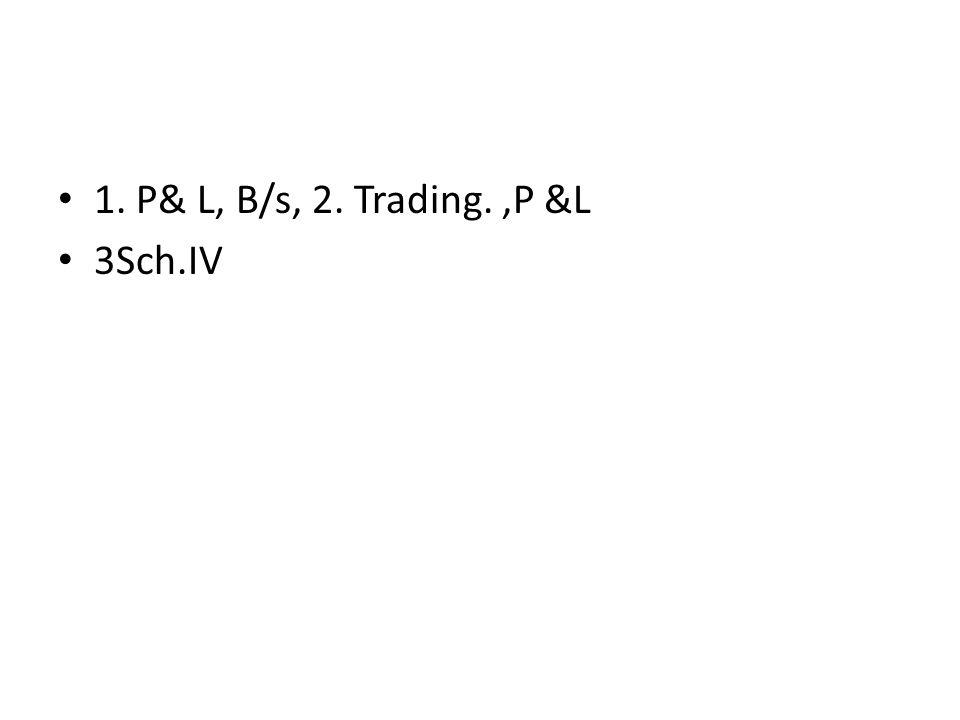1. P& L, B/s, 2. Trading. ,P &L 3Sch.IV