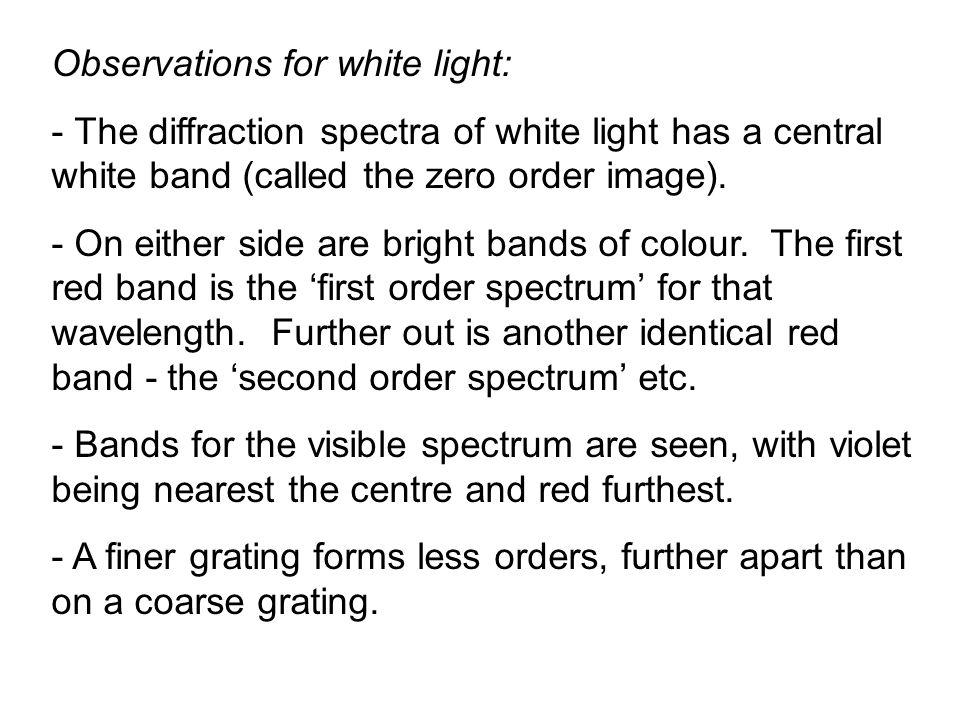 Observations for white light: