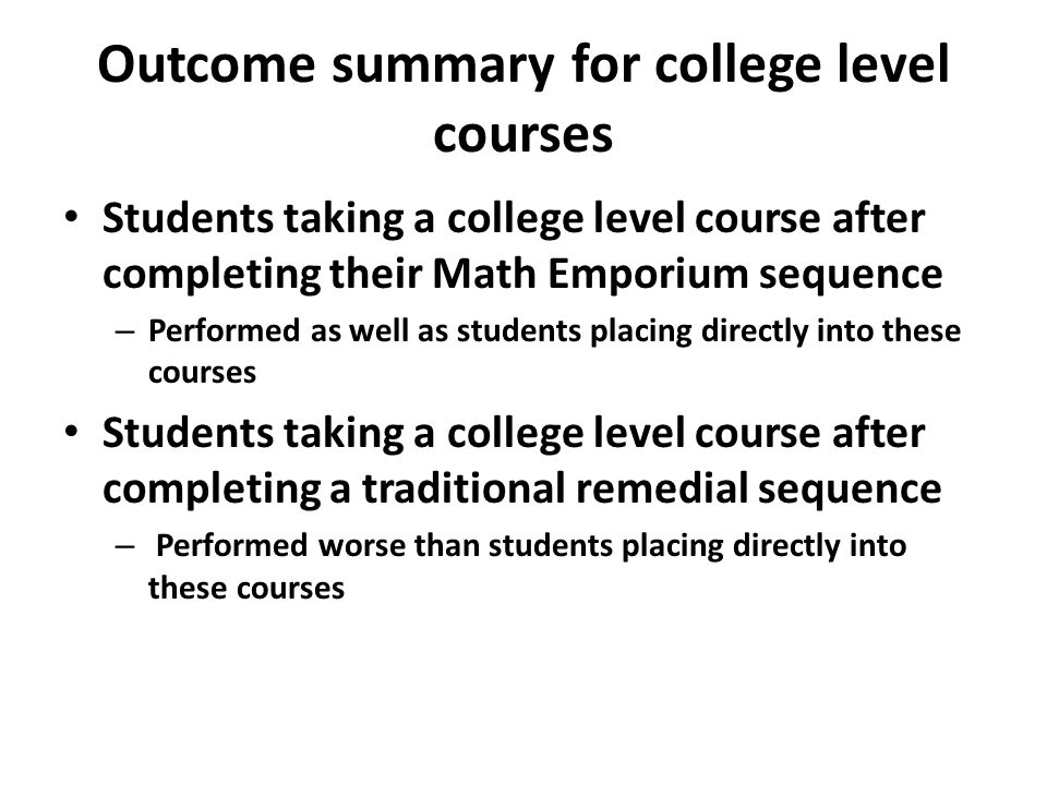 Outcome summary for college level courses