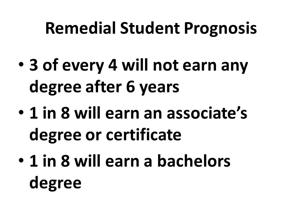 Remedial Student Prognosis