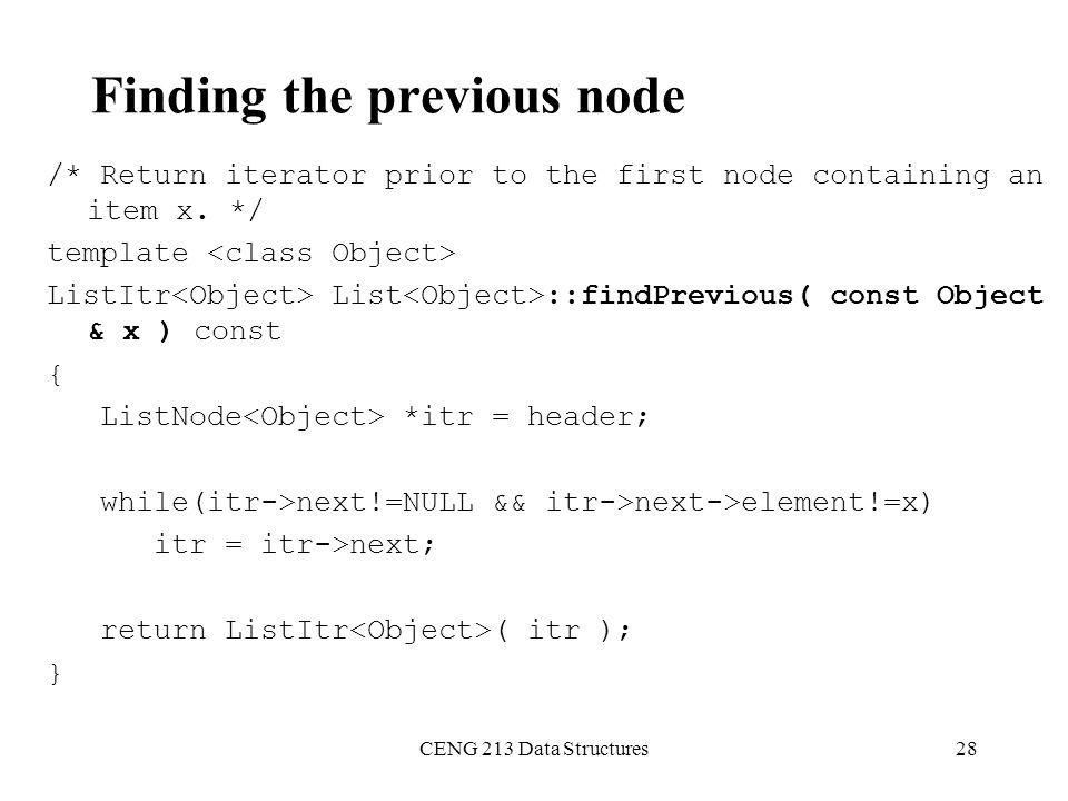 Finding the previous node