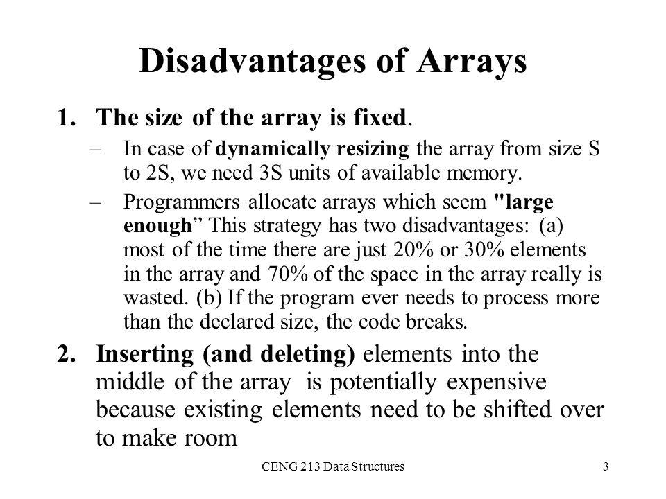 Disadvantages of Arrays