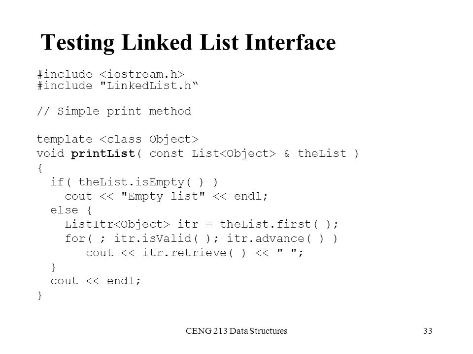 Testing Linked List Interface