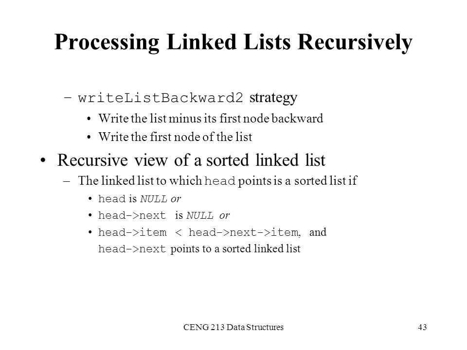 Processing Linked Lists Recursively
