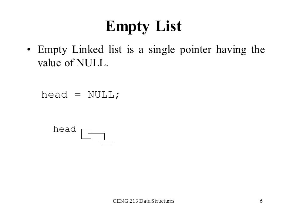 Empty List Empty Linked list is a single pointer having the value of NULL.