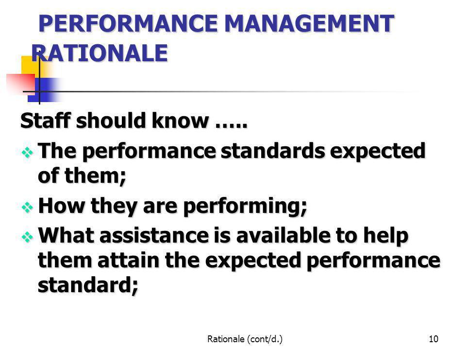 PERFORMANCE MANAGEMENT RATIONALE