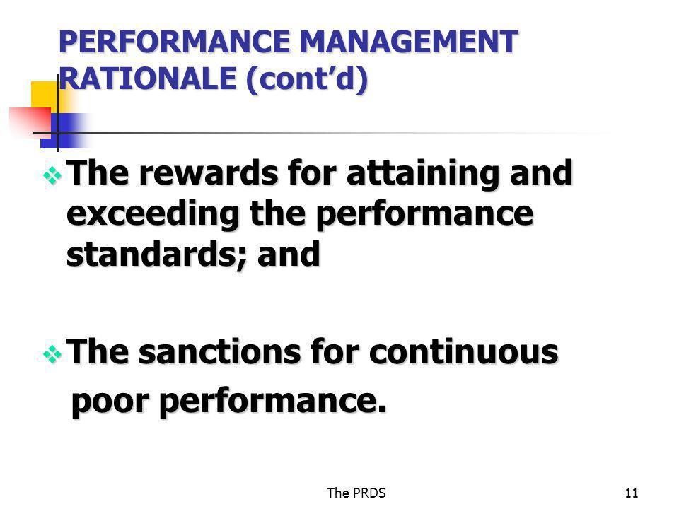 PERFORMANCE MANAGEMENT RATIONALE (cont'd)