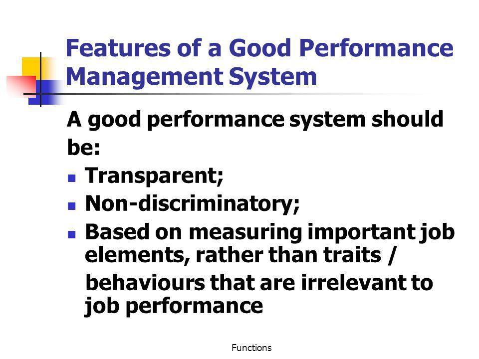 Features of a Good Performance Management System