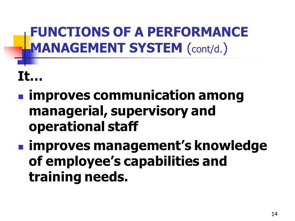 FUNCTIONS OF A PERFORMANCE MANAGEMENT SYSTEM (cont/d.)