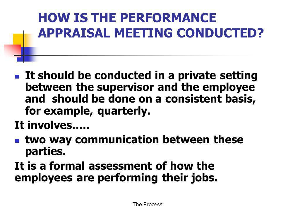 HOW IS THE PERFORMANCE APPRAISAL MEETING CONDUCTED