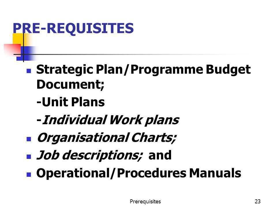 PRE-REQUISITES Strategic Plan/Programme Budget Document; -Unit Plans
