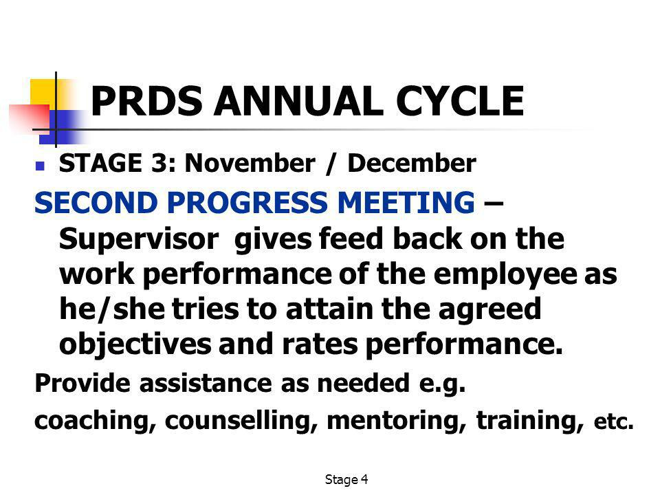 PRDS ANNUAL CYCLE STAGE 3: November / December.
