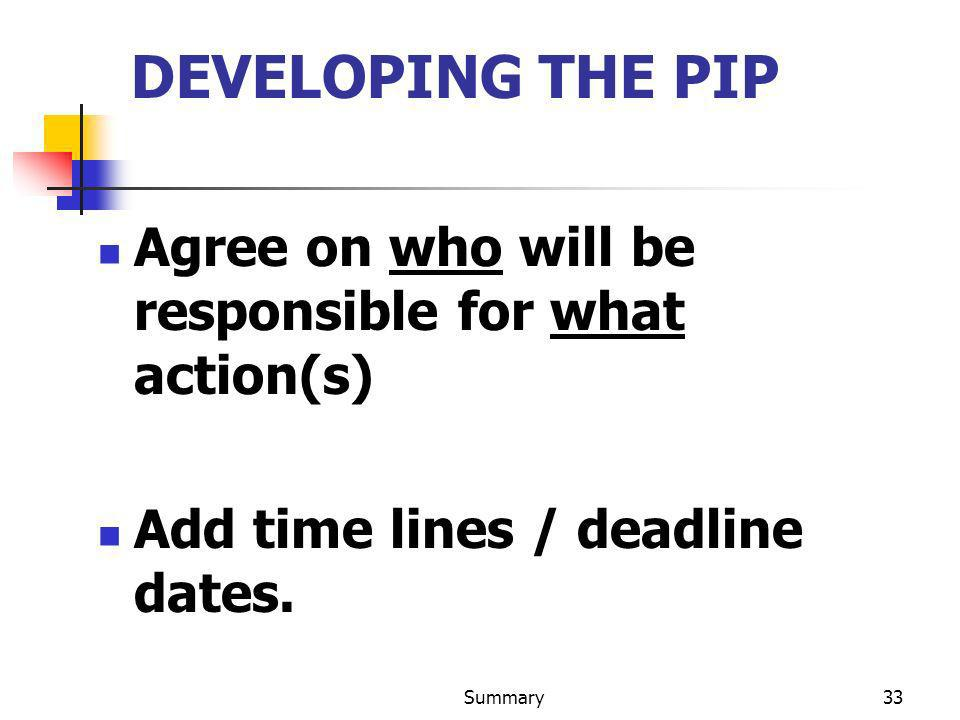 DEVELOPING THE PIP Agree on who will be responsible for what action(s)