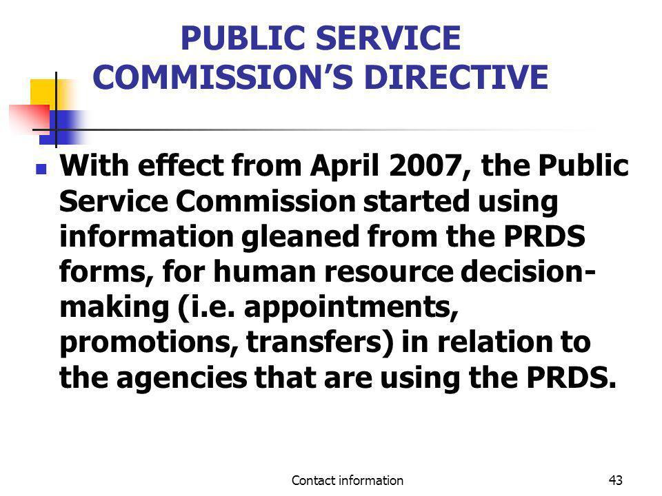 PUBLIC SERVICE COMMISSION'S DIRECTIVE