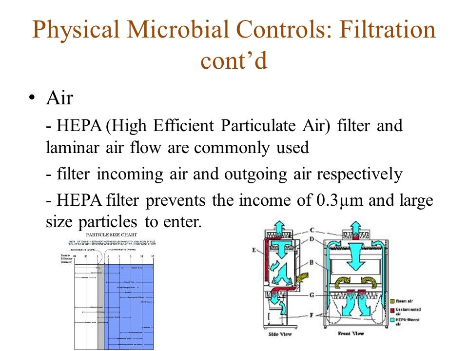 Physical Microbial Controls: Filtration cont'd