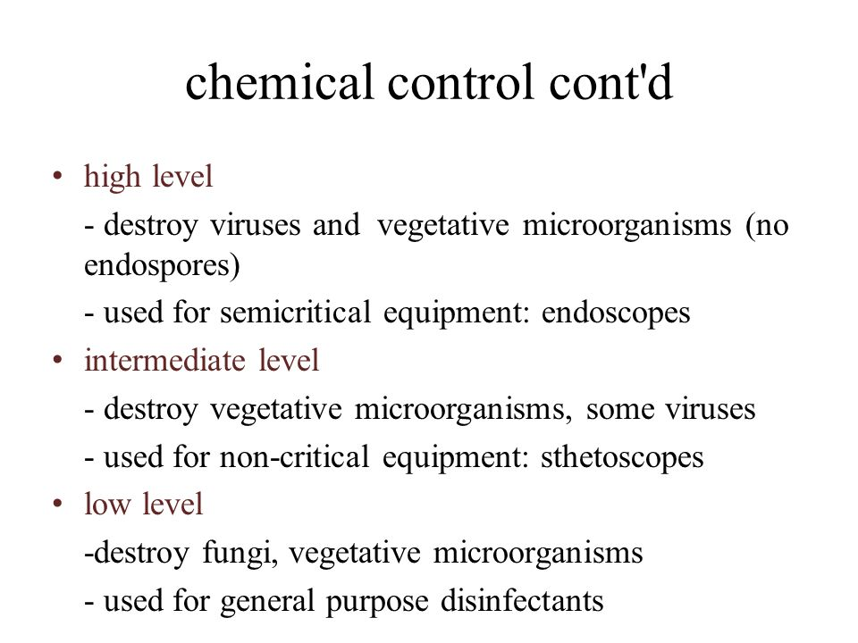 chemical control cont d