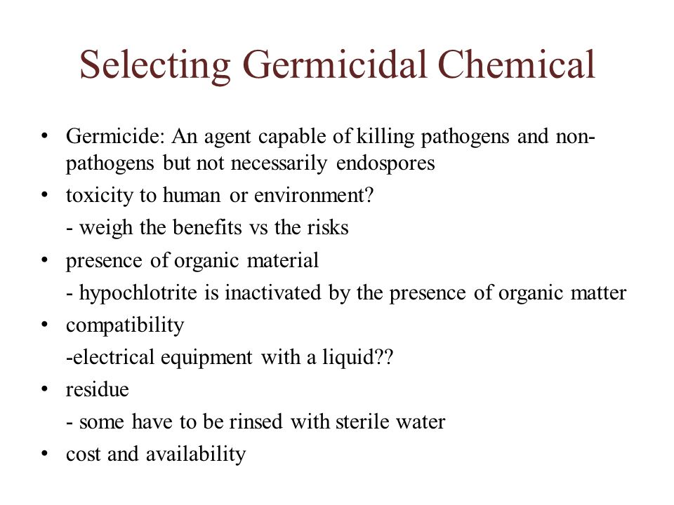 Selecting Germicidal Chemical