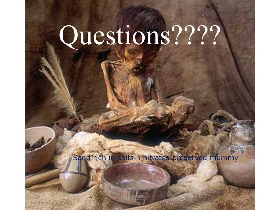 Questions Sand rich in salts n nitrates preserved mummy