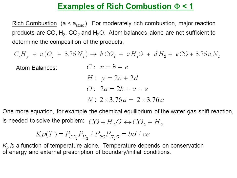 Examples of Rich Combustion F < 1