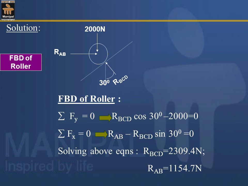 Solving above eqns : RBCD=2309.4N;