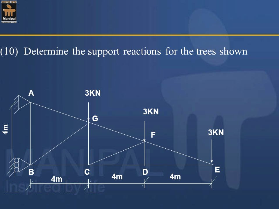 (10) Determine the support reactions for the trees shown