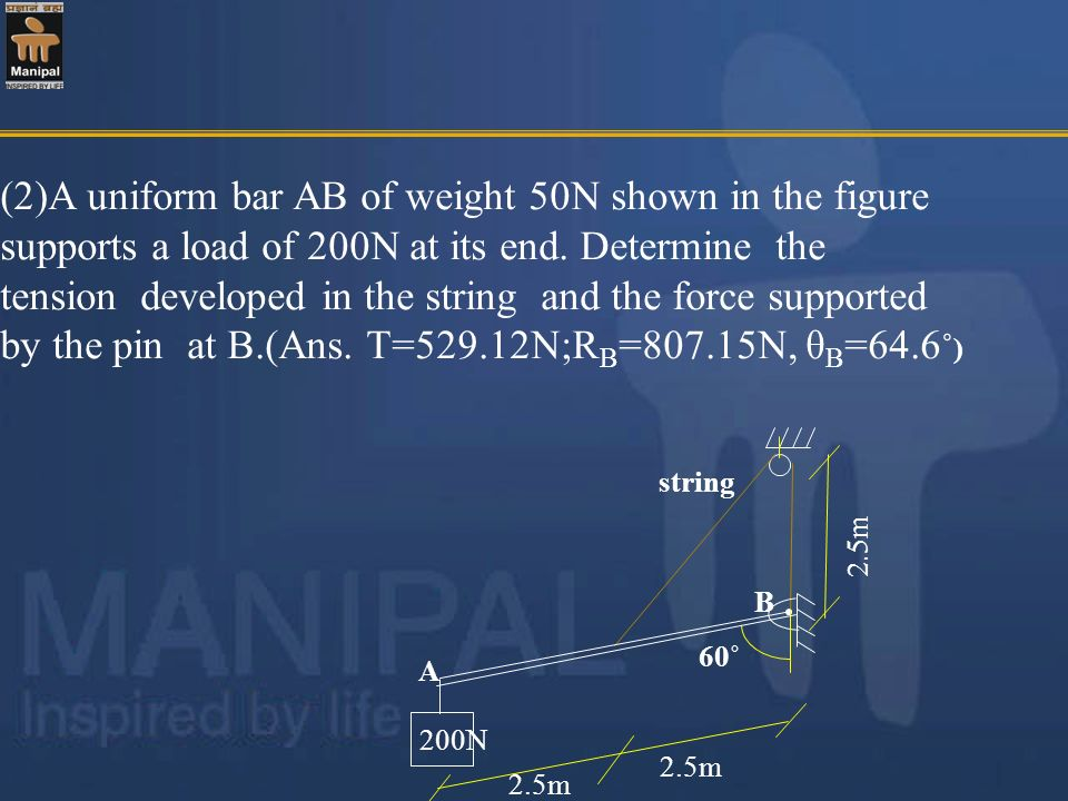 (2)A uniform bar AB of weight 50N shown in the figure supports a load of 200N at its end. Determine the tension developed in the string and the force supported by the pin at B.(Ans. T=529.12N;RB=807.15N, θB=64.6˚)
