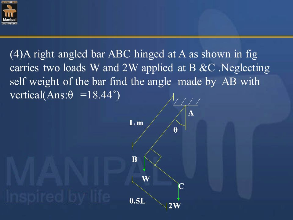 (4)A right angled bar ABC hinged at A as shown in fig carries two loads W and 2W applied at B &C .Neglecting self weight of the bar find the angle made by AB with vertical(Ans:θ =18.44˚)