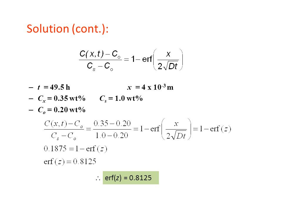 Solution (cont.): t = 49.5 h x = 4 x 10-3 m Cx = 0.35 wt% Cs = 1.0 wt%