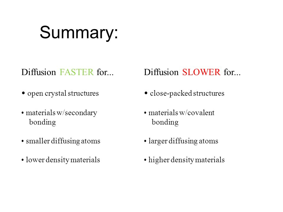 Summary: Diffusion FASTER for... Diffusion SLOWER for...