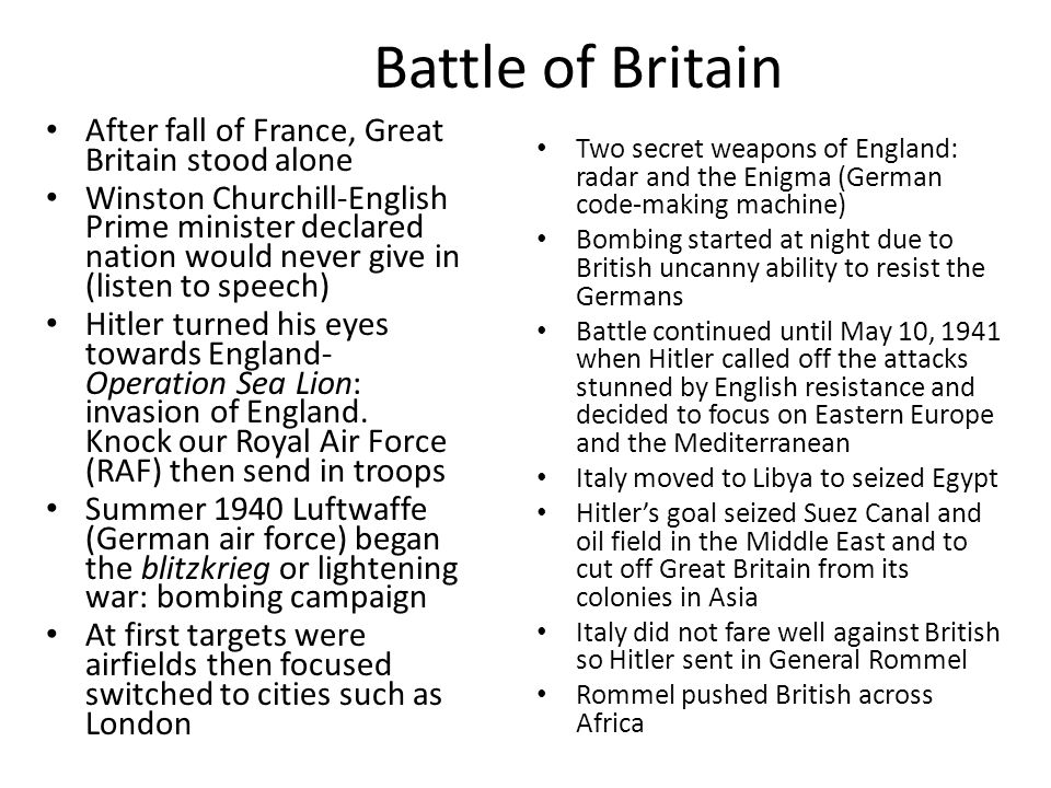 Battle of Britain After fall of France, Great Britain stood alone