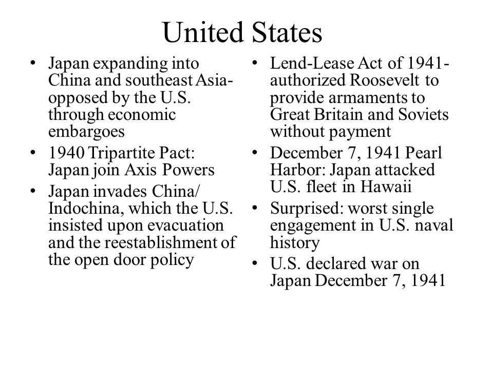 United States Japan expanding into China and southeast Asia-opposed by the U.S. through economic embargoes.