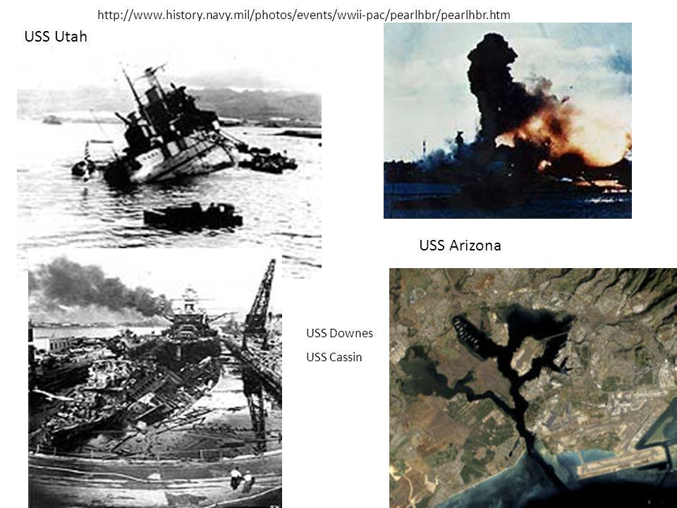 http://www.history.navy.mil/photos/events/wwii-pac/pearlhbr/pearlhbr.htm USS Utah. USS Arizona. USS Downes.