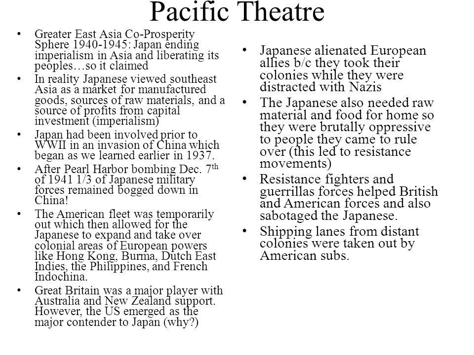 Pacific Theatre Greater East Asia Co-Prosperity Sphere : Japan ending imperialism in Asia and liberating its peoples…so it claimed.