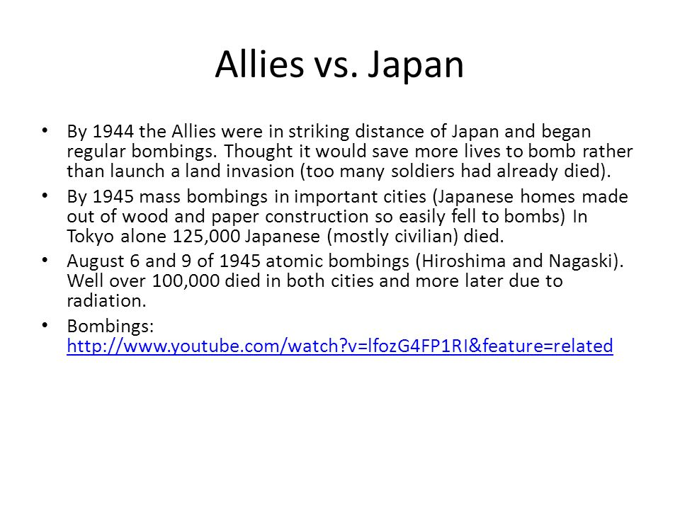 Allies vs. Japan
