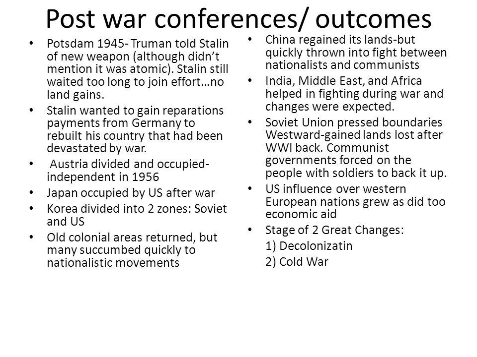 Post war conferences/ outcomes