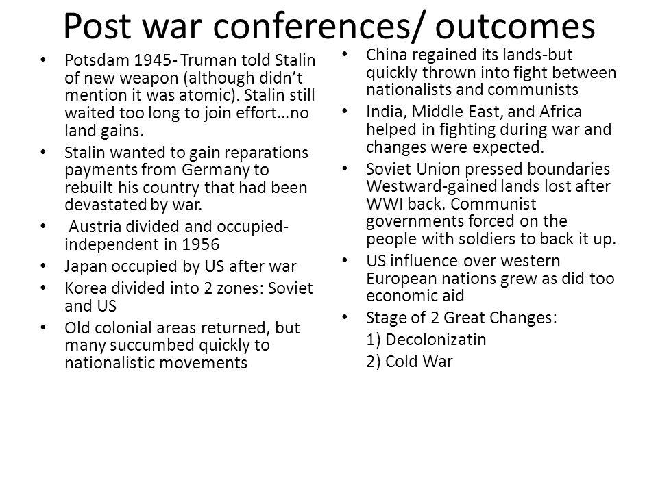 Post war conferences/ outcomes