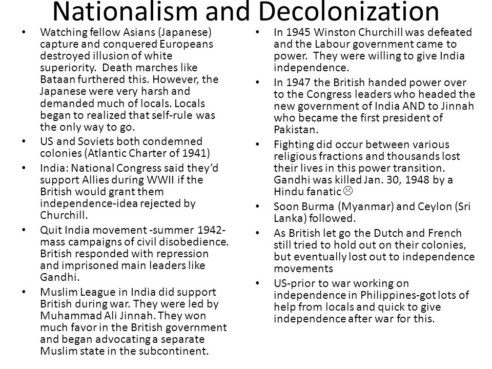 Nationalism and Decolonization