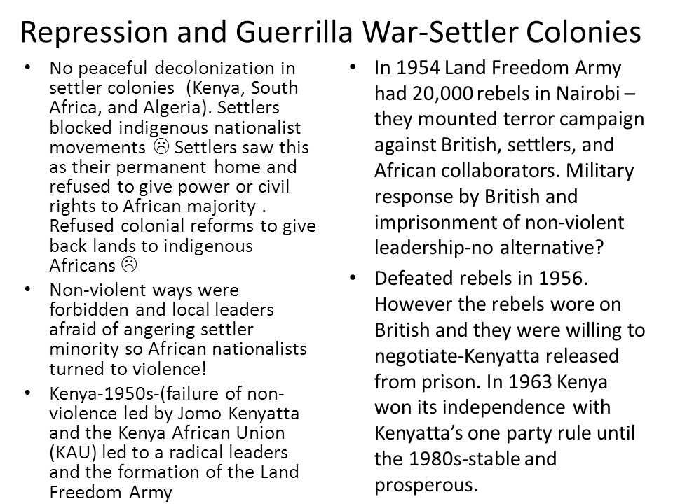 Repression and Guerrilla War-Settler Colonies