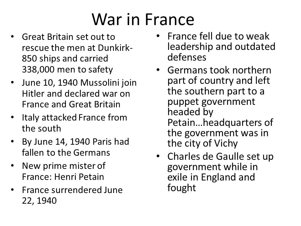 War in France France fell due to weak leadership and outdated defenses
