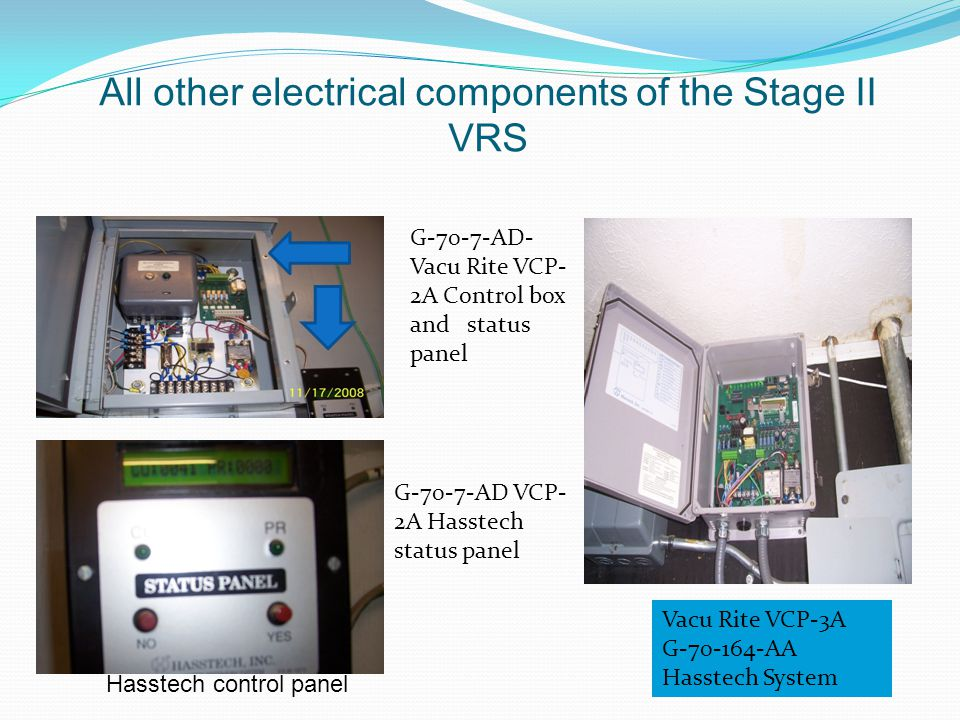 All other electrical components of the Stage II VRS