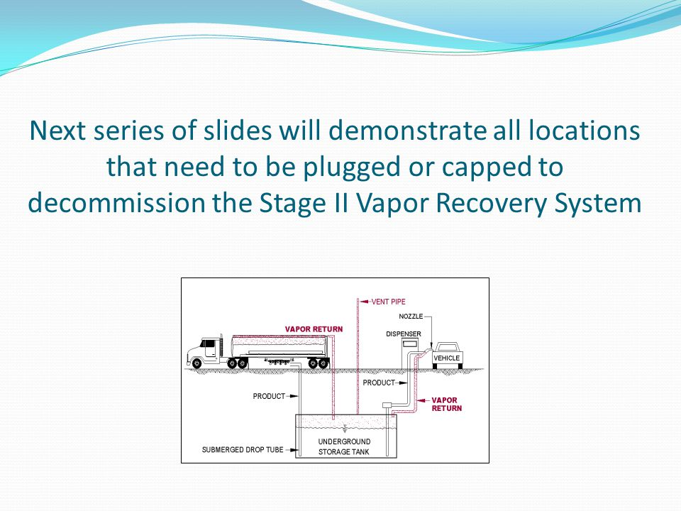 Next series of slides will demonstrate all locations that need to be plugged or capped to decommission the Stage II Vapor Recovery System