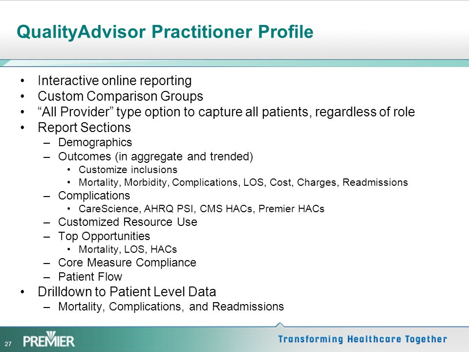 QualityAdvisor Practitioner Profile