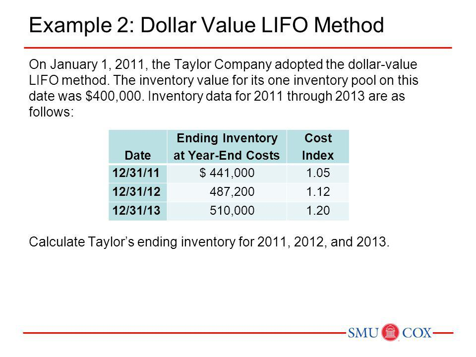 Example 2: Dollar Value LIFO Method