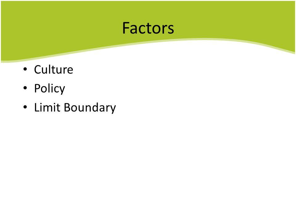 Factors Culture Policy Limit Boundary 由於達能是一個跨國企業, 在發展時應考慮到以下三個因素,