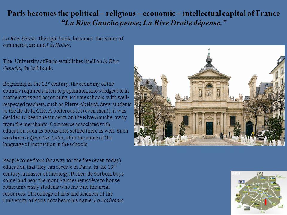 Paris becomes the political – religious – economic – intellectual capital of France La Rive Gauche pense; La Rive Droite dépense.