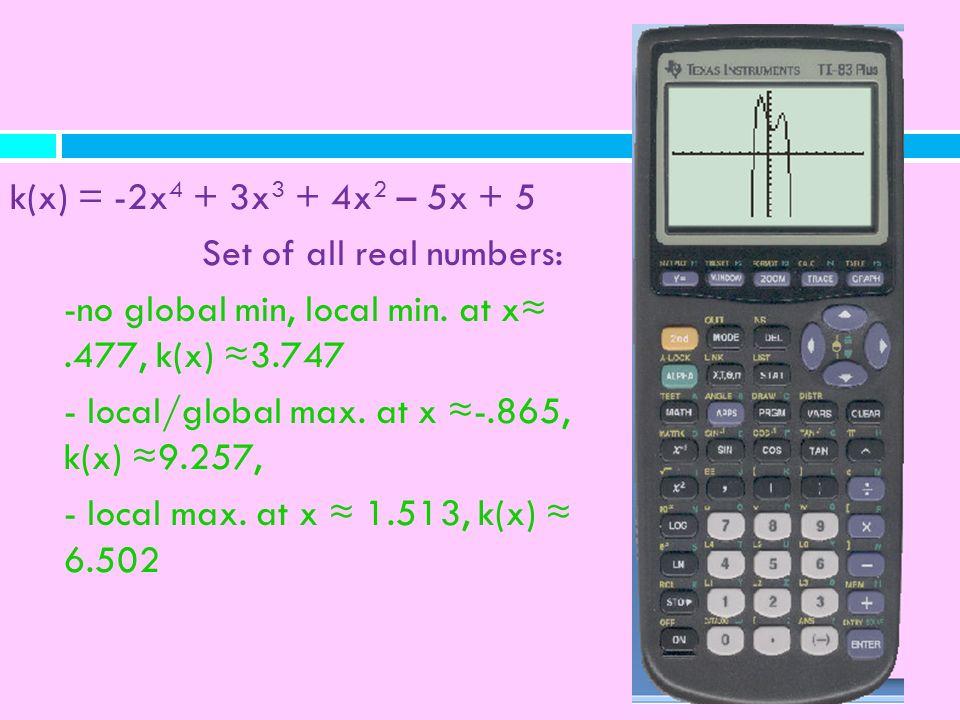 k(x) = -2x4 + 3x3 + 4x2 – 5x + 5 Set of all real numbers: -no global min, local min. at x≈ .477, k(x) ≈3.747.