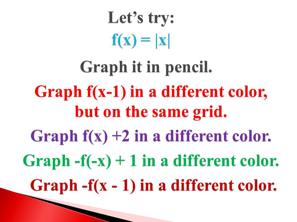 Graph f(x-1) in a different color, but on the same grid.