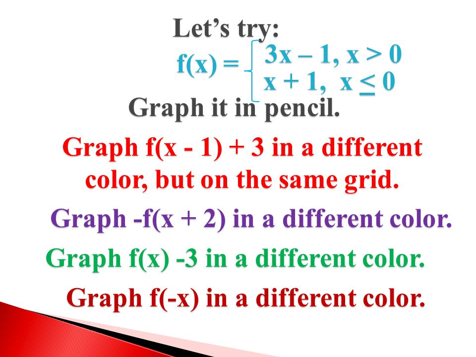Graph f(x - 1) + 3 in a different color, but on the same grid.
