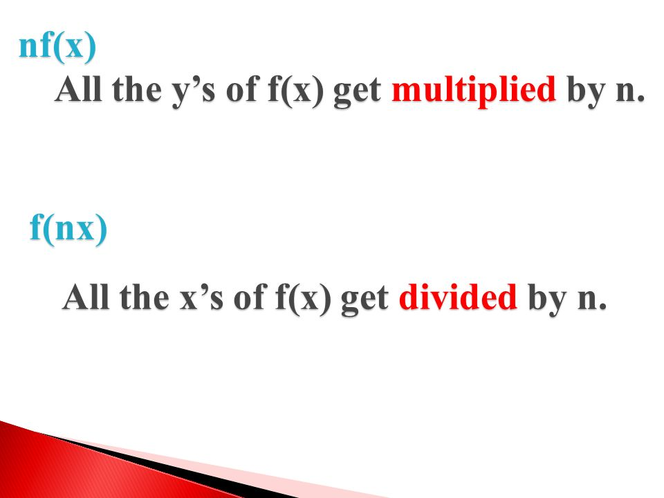 nf(x) All the y's of f(x) get multiplied by n. f(nx) All the x's of f(x) get divided by n.