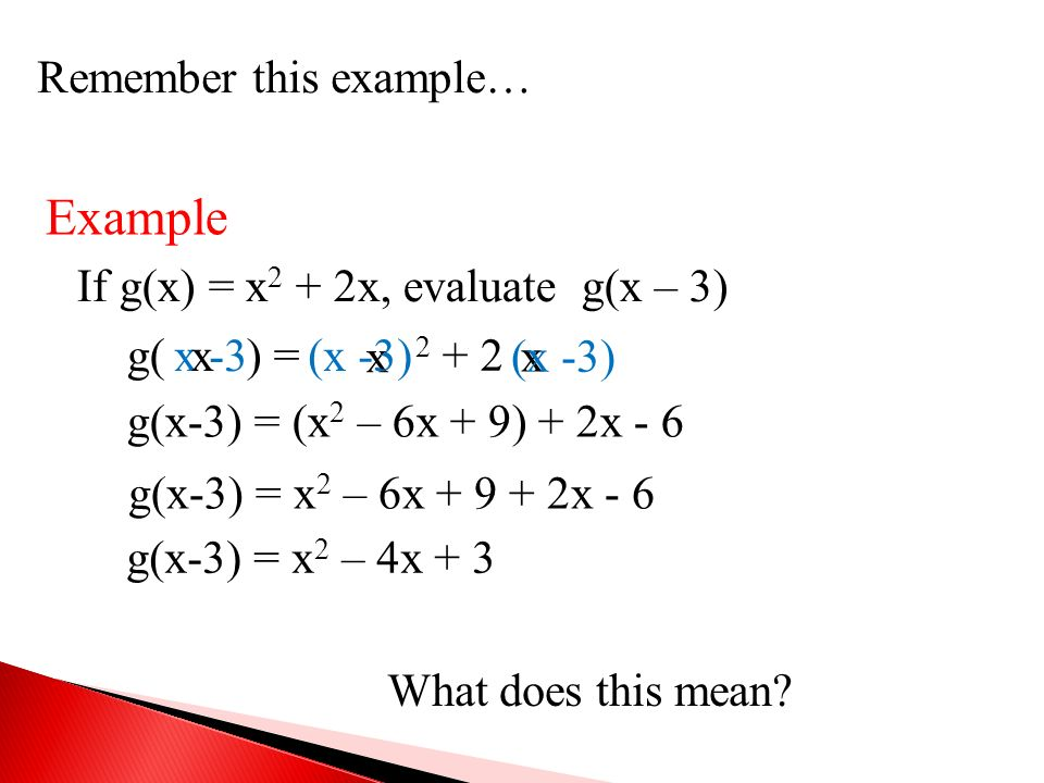 Example Remember this example… If g(x) = x2 + 2x, evaluate g(x – 3)